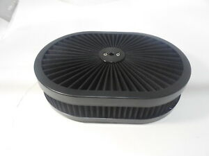 """12"""" Black Super Flow Oval Air Cleaner Set With Washable Element"""