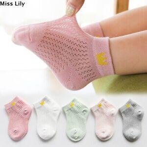 5 Pairs Kid Socks Thin Boys Girls Mesh Breathable Cotton Socks 1-12Years UK