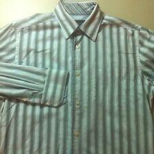 KENNETH ROBERTS Mens Dress Shirt Size Medium White Gray Blue Stripe EUC
