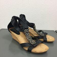 Women's Patrizia Spring Step Black Cork Wedge Heel Ankle Strap Sandals 41 9.5-10
