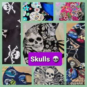 THE SKULL COLLECTION - Hand Made Reusable Cotton Face Mask/Face Covering