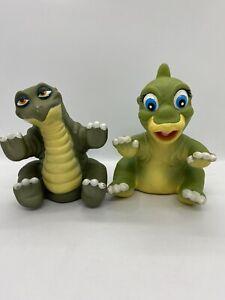 1988 Pizza Hut Amblin Land Before Time SPIKE & Ducky Dinosaur Rubber Hand Puppet