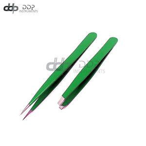 Slant & Pointed Tweezers Set Eyebrow Ingrown Facial & Nose Hair (Green) Color