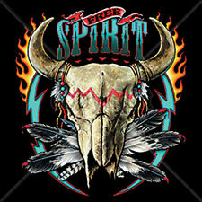 Free Spirit Cow Bull Skull Skeleton Horns Flames Feathers T-Shirt Tee