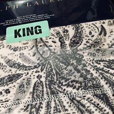 Ralph Lauren KING Dover Street Gwendolyn Gray DUVET COVER Tonal Paisley, Free 📦