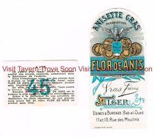 1940s 124mm ALGERIA Bab El Oued Usines Bureaux FLOR DE ANIS ANISETTE Wine Label