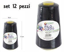 Set 12 Pz Filati A Cono Filo Poliestere Cucito 3000Y 40S/2 Nero 64405-2 dfh
