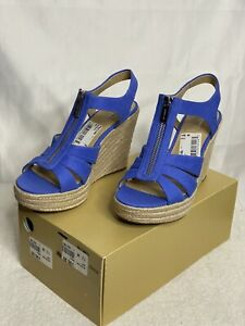 Michael Kors Berkley Weave Canvas Espadrille Wedges Shoes Sz 7.5 Womens New NWOB