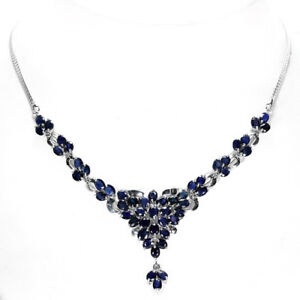 Necklace Blue Sapphire Genuine Natural Gems Solid Sterling Silver Cluster 18 In