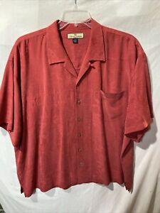 Tommy Bahama Mens Red 100% Silk Button Up Casual Shirt Size Sz XXL 2XL EUC