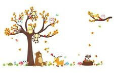 Woodland Tree & Animals Wall Decal 3D Stickers Childs Bedroom Nursery Playroom