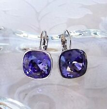 Tanzanite Purple Crystal Drop Earrings made with Cushion Cut Swarovski Prom Gift
