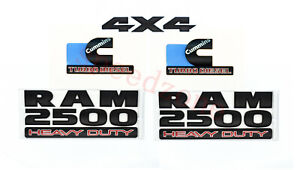 FOR Dodge RAM 2500 Grille Tailgate Cummins Turbo Diesel Emblem Badge Black 5 PCS