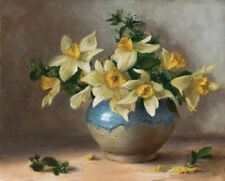 """Still Life Daffodils Floral Original Oil Painting Flowers 8""""x10"""" • Alexei Pal"""