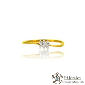 22ct 916 Indian Yellow Gold Ring with CZ Size M SR132