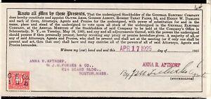 **USA = 5c Documentary Revenue on G. E. C. Stockholder document. 1925. (O0700i)