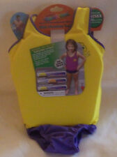 "Swim School Girls Flotation Trainer Vest Large 33-55lbs 22"" Chest Yellow Purple"