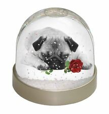 Pug (B+W Photo) with Red Rose Photo Snow Globe Waterball Stocking Fi, AD-P92R2GL