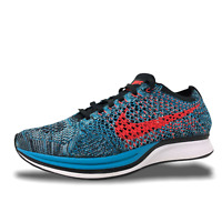 Nike Flyknit Racer Neo Turquoise/Bright Crimson Mens Running Shoes 526628 404