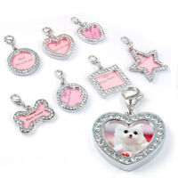 Cute Pet ID Tags Crystal Rhinestone Personalized Puppy Pet Dog Cat Name Tag Gift