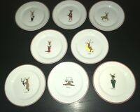 "Set of 8 LTD Commodities Christmas Reindeer 8 1/4"" Salad Plates"