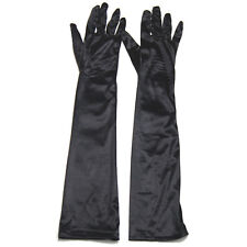 Womens Long Black Satin Elbow Length Gloves Dress Up Evening Party Finger - By