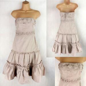 KAREN MILLEN Strapless Fit & Flare Full Skirt dress SIZE UK 8 beige Boho A-line