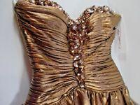 Sherri Hill Dress Formal Hollywood Regency Metallic Rhinestones Prom Party #H13