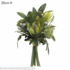Double Pack Fake Native Floral Bouquet White Green Artificial Flowers