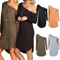 Ladies Off Shoulder Dip Curved Hem Baggy Long Sleeve Tunic Dress Asymmetric Top