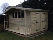 GARDEN SHED WITH LOG STORE TANALISED HEAVY DUTY 12X10 APEX 13MM T&G. 3X2.