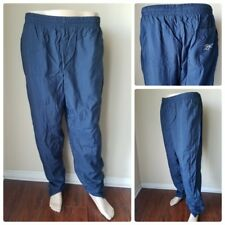 Reebok Navy Blue Track Gym Running Lined Stretch Waist Nylon Pants Size L