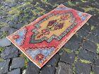 Ethnic rug, Vintage rug, Boho decor, Handmade, Wool, Pastel rug   1,4 x 2,8 ft