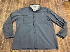 Eddie Bauer Men's Gray Nylon Vented Long Sleeve Outdoor Shirt - XL