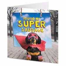 """""""YOU'RE MY SUPER salsiccia"""" FUNNY Bassotto Cane Supereroe San Valentino Compleanno carta"""