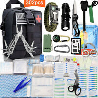 302Pcs Outdoor Camping Emergency Survival Kit Compact Tactical Pouch Gear Tools