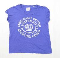 Jack Wills Womens Size 12 Cotton Blue T-Shirt (Regular)