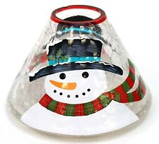New Yankee Candle Christmas Holiday Snowman Crackle Glass Large Jar Shade