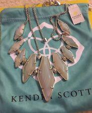 NWT Kendra Scott Berniece Adjustable Necklace Iridescent Agate Silver Rhodium
