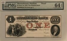 Pittsfield Bank, Pittsfield, Mass. $1 PROOF PMG 64 EPQ