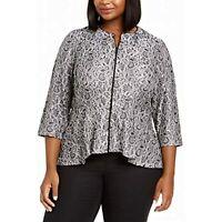MSRP $149 Alex Evenings Womens Jacket Plus Metallic Floral Lace Black Size 3X