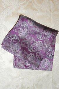 "CALVIN KLEIN Pocket Square Handkerchief ~ 12"" Pink Mauve Gray Paisley 5042"