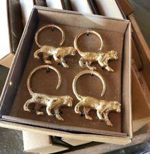 Pottery Barn Set 4 Golden Monkey Napkin Rings Gold Wizard Of Oz Theme NIB
