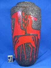 Rare 70´s design Scheurich Fat Lava Keramik Vase  Horses / Pferde  517 - 45