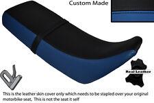 Royal Azul Y Negro Custom encaja Kawasaki Kmx 125 89-04 Doble Cuero Funda De Asiento