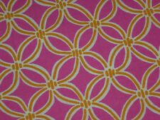 Hot pink cotton fabric 100% mix use material gold rings circles 45 w 2 yards 21