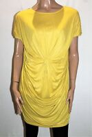 MOST Brand Yellow Twist Front Short Sleeve Tunic Top Size M BNWT #TL63