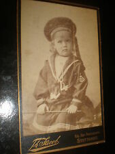 Cdv old photograph sailor girl toy whip by jacob at Stuttgart Germany c1890s