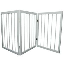 More details for seconds-3 section wooden solid wood folding pet gate - white ls16100s