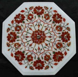 14 Inches Marble End Table Top Inlay Patio Coffee Table with Carnelian Stone Art